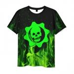Merchandise Men'S T-Shirt Gears Of War 5 Black Flame Print Skull