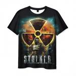 Merch Mens T-Shirt Black Radiation Print Stalker