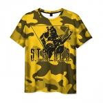 Merch Mens T-Shirt Yellow Print Stalker Game