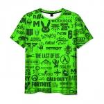 Merch Men'S T-Shirt Logos Game Fortnite Green Image