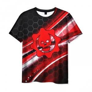 Merchandise T-Shirt Gears Of War Red Stripes Logo Skeleton