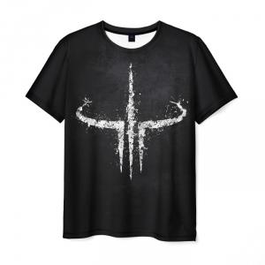 Merch Men T-Shirt Quake Game Logo Black Tee