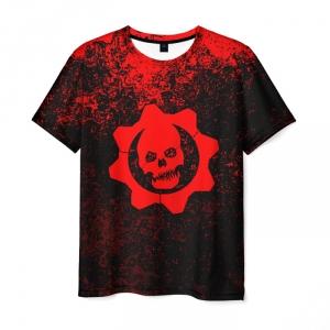 Merchandise Men T-Shirt Gears Of War Black Red Tee