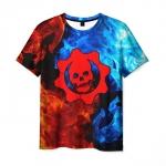 Merchandise Men T-Shirt Red Gears Of War Skull Logo