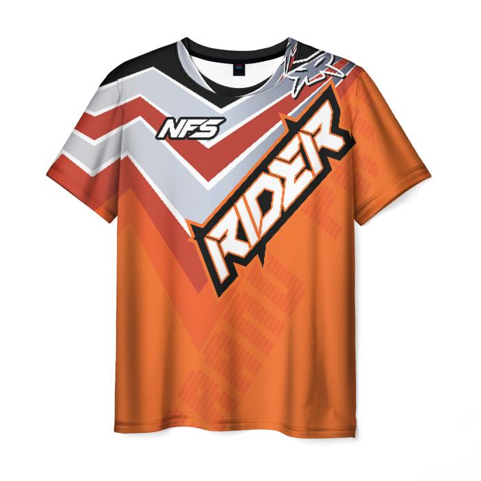 Merch Men T-Shirt Need For Speed Text Rider