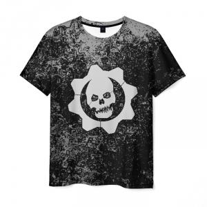 Merchandise Men T-Shirt Gears Of War Black Skull Print