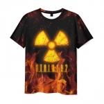 Merchandise Men T-Shirt Flame Print Black Stalker