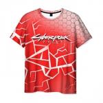 Merch Men T-Shirt Red Title Cyberpunk 2077