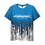 Collectibles Men T-Shirt Blue Title Cyberpunk 2077