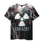 Merch Men'S T-Shirt Glitch Print Stalker Black