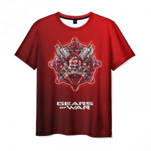Merchandise Men'S T-Shirt Red Emblem Game Gears Of War Design