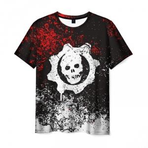 Merchandise Men'S T-Shirt Skull Black Design Gears Of War