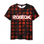 Merch Men'S T-Shirt Roblox Pattern Red Print