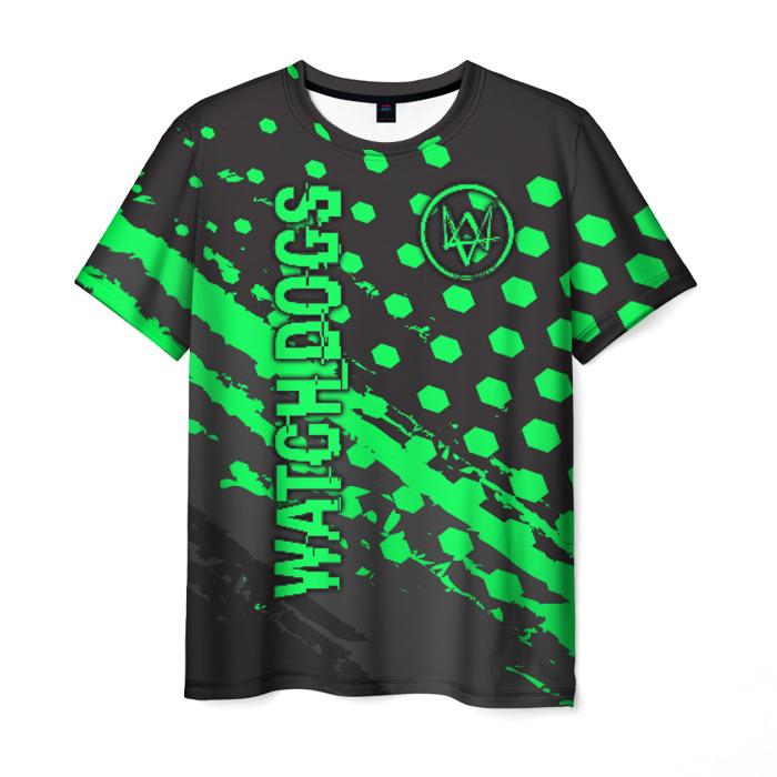 Collectibles Men'S T-Shirt Green Pattern Watch Dogs Merch
