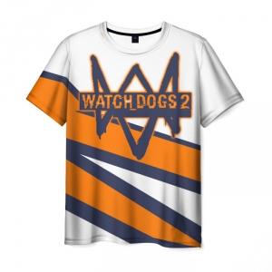 Collectibles Men'S T-Shirt Watch Dogs Orange Line Design