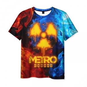 Merch Men'S T-Shirt Radiation Sign Fire Vs Ice Metro Exodus