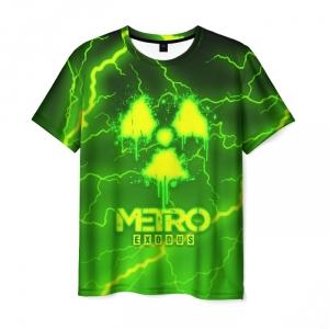 Merch Men'S T-Shirt Green Lighting Print Metro Exodus