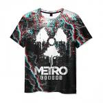 Merchandise Men'S T-Shirt Black Glitch Metro Exodus Print