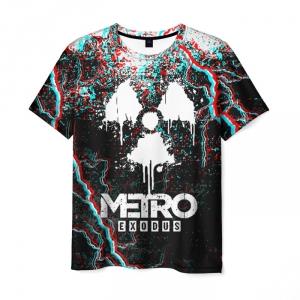 Merch Men'S T-Shirt Black Glitch Metro Exodus Print
