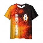 Merchandise Men'S T-Shirt Orange Print Rainbow Six Siege Text Number