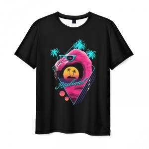 Collectibles Men'S T-Shirt Print Flamingo Black Hotline Miami