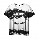 Merchandise Men'S T-Shirt White Text Rainbow Six Siege Apparel