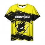 Merch Men'S T-Shirt Yellow Title Graphic Rainbow Six Siege
