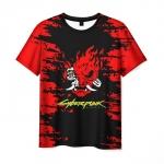 Merch Men'S T-Shirt Samurai Cyberpunk Label Print