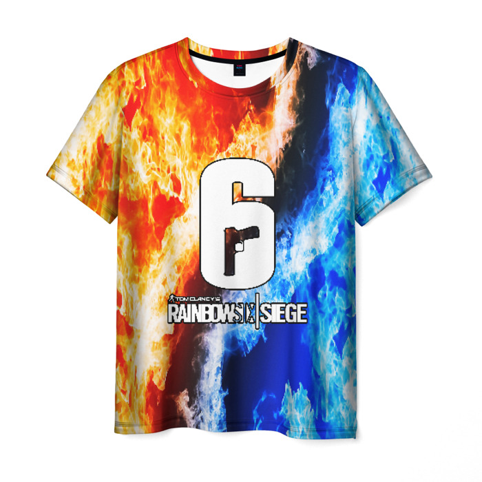 Merch Men'S T-Shirt Flame Vs Ice Print Rainbow Six Siege