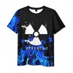 Collectibles Men'S T-Shirt Black Stalker Blue Flame Print