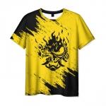 Merchandise Men'S T-Shirt Yellow Merch Samurai Game Cyberpunk