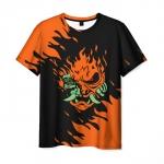Collectibles Men'S T-Shirt Samurai Cyberpunk Orange Mask