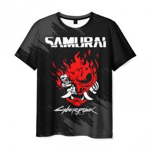 Collectibles Men'S T-Shirt Black Merch Samurai Cyberpunk Print