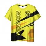 Merch Men'S T-Shirt Yellow Design Watch Dogs Text