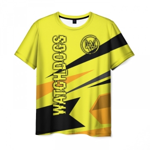 Collectibles Men'S T-Shirt Yellow Design Watch Dogs Text