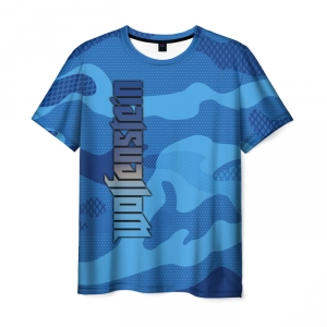 Merchandise Men'S T-Shirt Wolfenstein Camouflage Blue Print