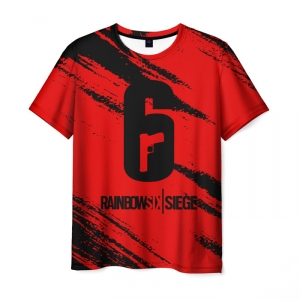 Merch Men'S T-Shirt Red Text Game Rainbow Six Siege