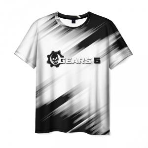 Merchandise Men'S T-Shirt White Text Gears Of War Apparel