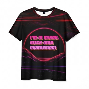 Collectibles Men'S T-Shirt Outline Design Retrowave Hotline Miami