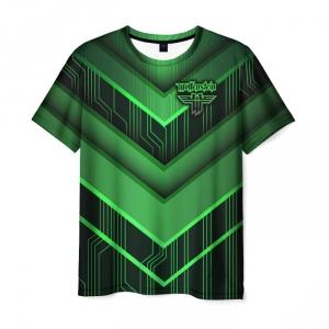 Merchandise Men'S T-Shirt Wolfenstein Green Outline Print