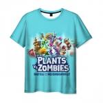 Merch Men'S T-Shirt Bue Title Plants Vs Zombies Heroes Print