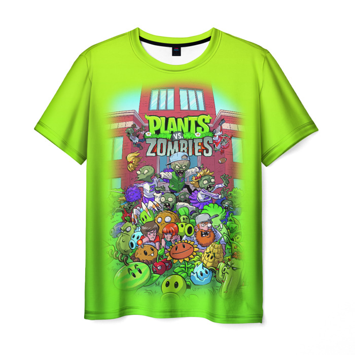 Merchandise Men'S T-Shirt Green Print Plants Vs Zombies Design
