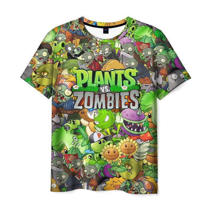Merch Men'S T-Shirt Design Plants Vs Zombies Faces Print