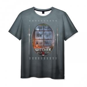 Merch Men'S T-Shirt Witcher Wild Hunt Print Gray