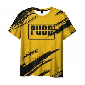 Merch Men'S T-Shirt Pubg Text Yellow Print