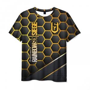 Merch Men'S T-Shirt Outline Design Lettering Rainbow Six Siege