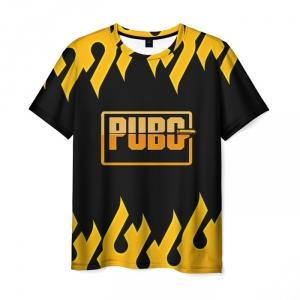 Merch Men'S T-Shirt Pubg Black Title Orange