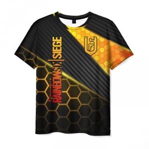 Merch Men'S T-Shirt Black Print Outline Rainbow Six Siege