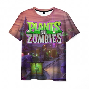 Collectibles Plants Vs Zombies T-Shirt Print Title Scene