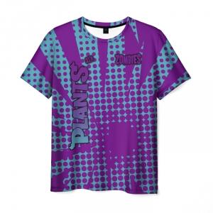 Collectibles Men'S T-Shirt Purple Pattern Plants Vs Zombies